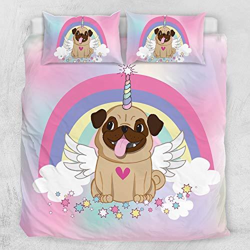 ARIGHTEX Unicorn Pug Bedding Unicorn Bedding Twin for Girls 3 Piece Cute Puppy Dog Duvet Cover Rainbow Stars Cartoon Bedspread