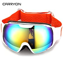 Carryon Authorized Kids Adult Snowboard Goggles Ski Glasses Spherical Lens Anti-fog Anti-slip Strap