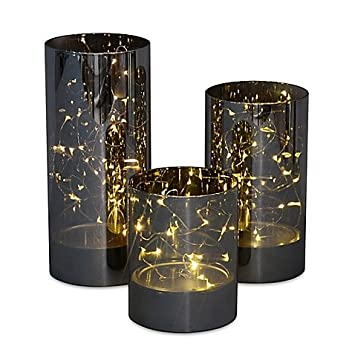amazon com lovely 3 piece led hurricane set with built in micro