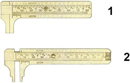 Daxin 80//100mm Double Scale Brass Caliper Gauge Sliding Gem Bead Jewelry Inches Tool Ruler