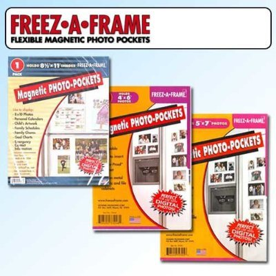 Clear Magnetic Picture Frames, Set of 4''x6'', 5''x7'' & 8.5''x11'' Magnetic Photo Frames for Refrigerator, Freez-A-Frame by Freez A Frame