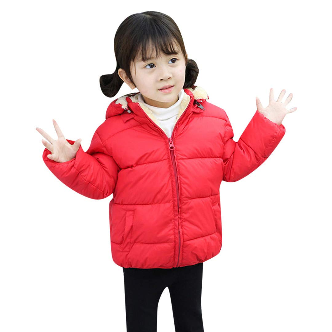 Pollyhb Kids Thick Warm Outerwear, Baby Girls Boys Winter Hooded Coat Jacket Clothes