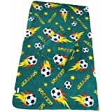 LARGE Size 70x60 Soccer Ball Anti-pill Polar Fleece Blanket (Green) - 5pcs