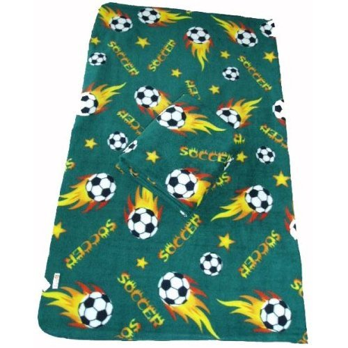 Standard Size 50x60 Soccer Ball Anti-pill THROW Polar Fleece Blanket (Green) - 10pcs by DonxingUSA