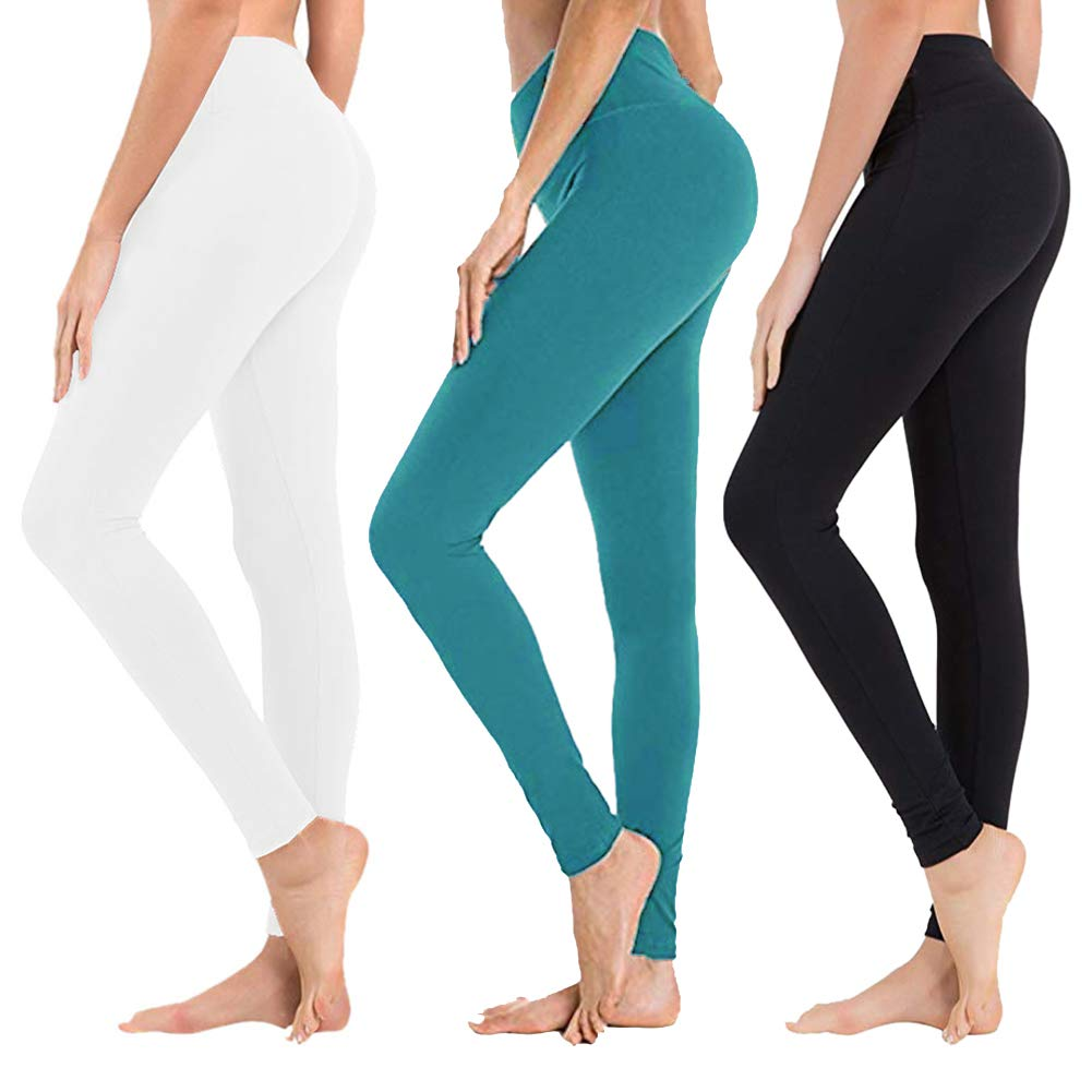 High Waisted Leggings for Women - Soft Athletic Tummy Control Pants for Running Cycling Yoga Workout - Reg & Plus Size (3 Pack Black,Turquoise,White, Plus Size (US 12-24)) by SYRINX