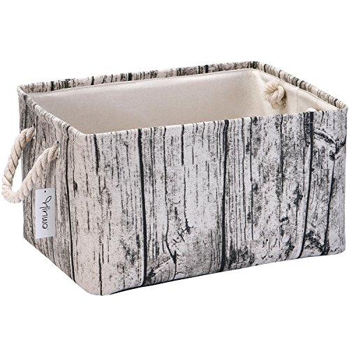 Hinwo 34L Stylish Tree Stump Design Wood Grain Storage Bin Basket Rectangle Canvas Fabric Toy Chest Organizer with Rope Handles for Kids Toys Clothes Nursery Playroom and Shelves, 17 x 13.5 x 9.1