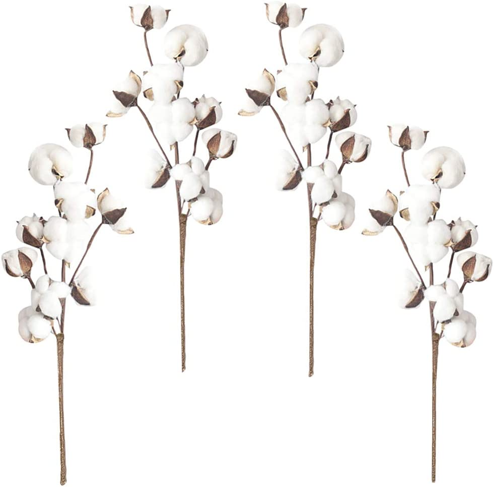 Chussaanj Pack of 4 Cotton Stems,10 Cotton Balls Artificial Cotton Branches,Fake Cotton Flowers for Farmhouse Style Decor,Home,Wedding,Party Decoration
