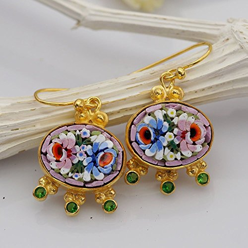 (Sterling Silver 925k Unique Hand Carved Venetian Handset Micro Mosaic W/ Chorme Diopside Earrings 24k Gold Vermeil)