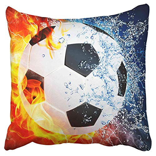 Halfback Covers (Emvency Decorative Throw Pillow Covers Ice and Fire Can Football Sports Soccer Center Forward Halfbacks Double Sided Pillowcase Cushion Cover Case Protectors Sofa 20x20 Inches)