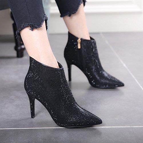 GTVERNH-Banquete De Invierno Zapatos De Mujer Sexy Fina Con Botas Cortas De Perforación De Agua Completo Botas De Tacón Alto De Mujeres Señaló Cristales Zapatos Zapatos De Boda Black