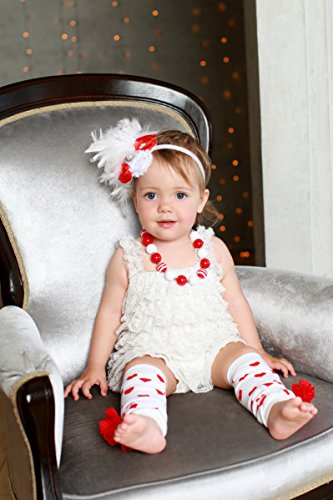 Baby girls outfit (4pcs): Romper, leg warmers, necklace, headband; White and Red