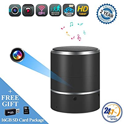 Speaker Hidden Camera By WEMLB - HD 1080P WIFI Hidden Camera - Wireless Stereo Speaker Bluetooth Music Player Hidden cam- Lens support Left/Right 180° rotation - Nanny Cameras - Motion Alarm Detection from WEMLB