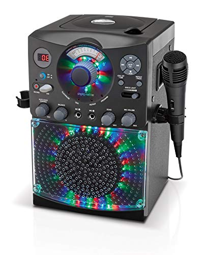 51cTQJ6JFxL - Singing Machine SML385UBK Bluetooth Karaoke System with LED Disco Lights, CD+G, USB, and Microphone, Black