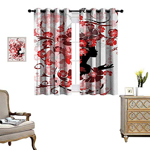 Anyangeight Girls Room Darkening Wide Curtains Flower Girl with Hair Long Swirling Pink Blossoms Hair Dressers Beauty Feminine Decor Curtains by W72 x L72 Red Pink Black