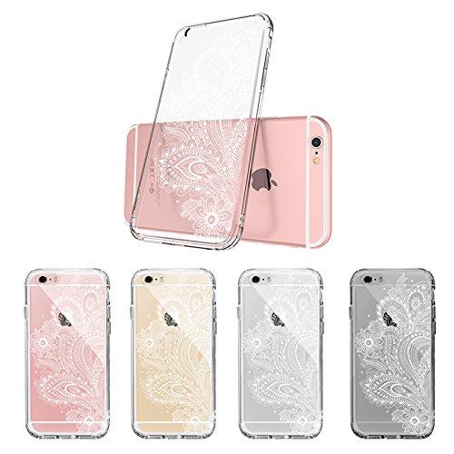 Funda iPhone 6s Plus, Funda iPhone 6 Plus, MOSNOVO Blanco Henna Mandala Lace Transparente Cover Diseño de Plástico Impreso con TPU Bumper Protectora de Espalda Cubierta para iPhone 6/6s Plus (5.5) (W Paisley Floral