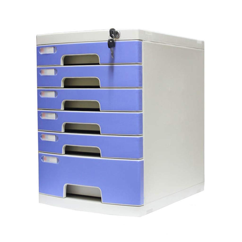 Bxwjg Flat File Cabinet, Drawer Organizer 12-Layers Lockable with White Label Environmentally Friendly Plastic-Blue(29.539.443cm) (Size : 6-Layers)