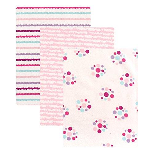 Luvable Friends Flannel 3 Piece Receiving Blankets, Girl (Dot Receiving Blanket)