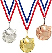 Juvale 3-Piece Award Medals Set - Gold, Silver, Bronze Medals, Olympic Style Metal Award Medals for Sports, Co