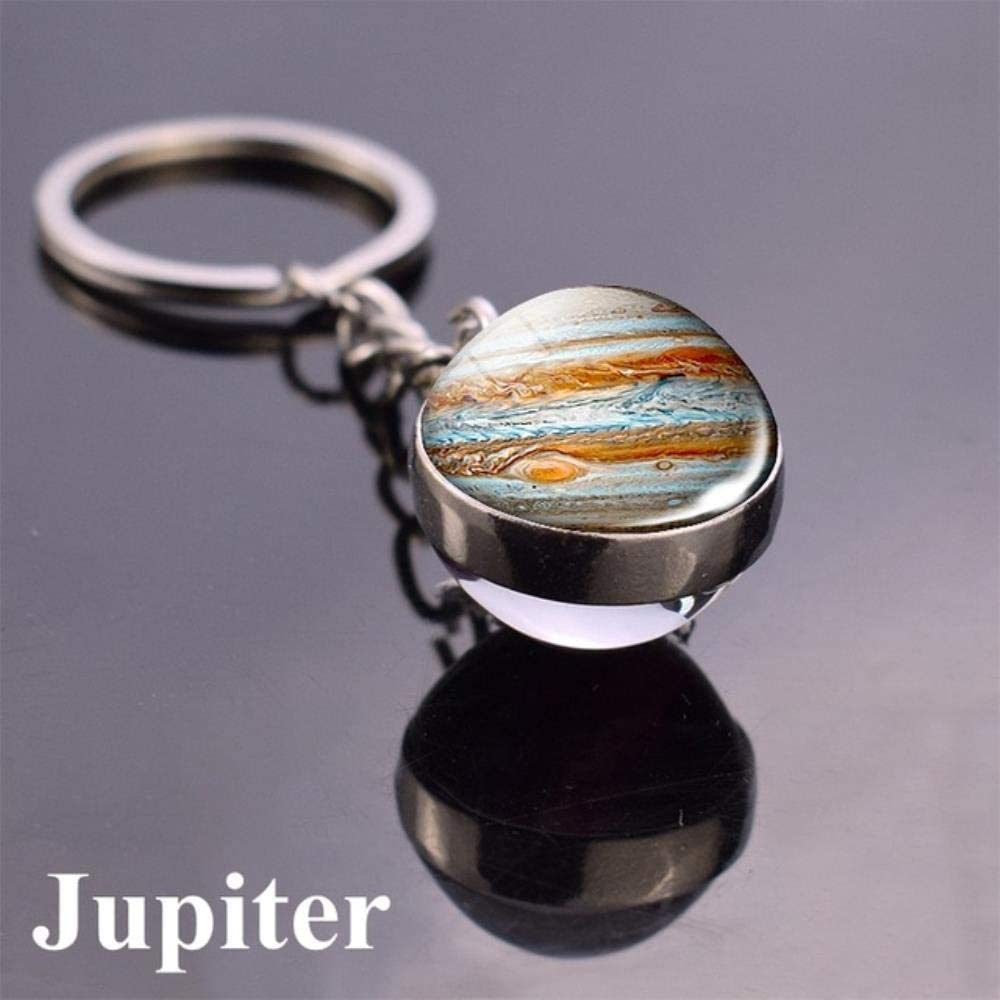 WZ 10pcs Solar System Planet Key Ring Galaxy Nebula Space Key Chain Moon Earth Sun Mars//Double Side Glass Ball Key Chain,Size 10