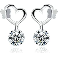 New Fashion Jewelry Womens 925 Sterling Silver Heart Crystal Stud Earrings