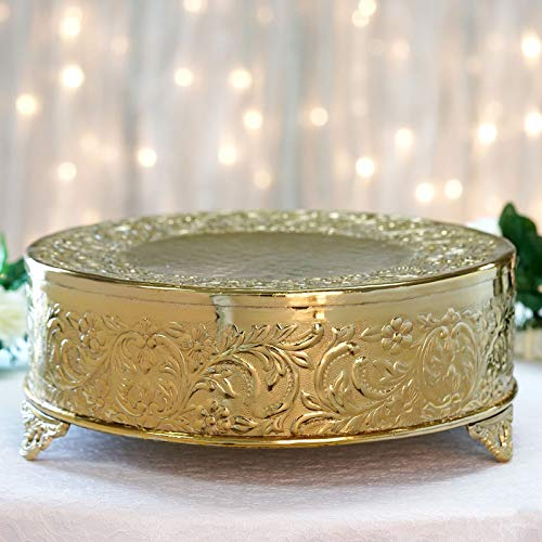 Efavormart 14 inch Gold Round Embossed Metal Cake Plateau Stand Riser Wedding Birthday Party Dessert Cake Pedestal Display Plate