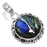 Solid 925 Sterling Silver Pendant Dichroic Glass Gemstone Handmade Jewelry