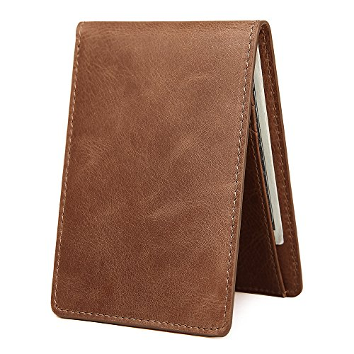 - Men's Slim Leather Wallet Small Billfold Front Pocket Wallet with RFID Blocking ID window - Light Brown