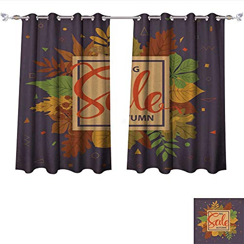 Room Darkening Wide Curtains Big Autumn Fall Sale Frame Banner Background with Colorful Forest Leaves on a Geometric Simple Shape Tie Up Window Drapes Living Room W72 x L72/Pair (Leigh Silk Tie)