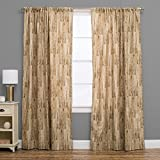 1 Piece 96 Inch Brown Color Lodge Rustic Natural Curtain Single Panel, Geometric Pattern Cottage Lodge Log Cabin Outdoor Nature Novelty Stripe Pattern Country Modern Traditional Vintage, Polyester