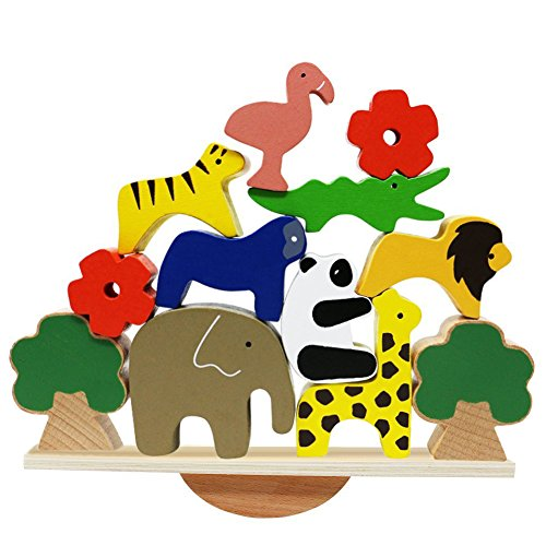 Lewo Wooden Animals Stacking Blocks Balancing Games Playset Montessori Toy for Toddlers