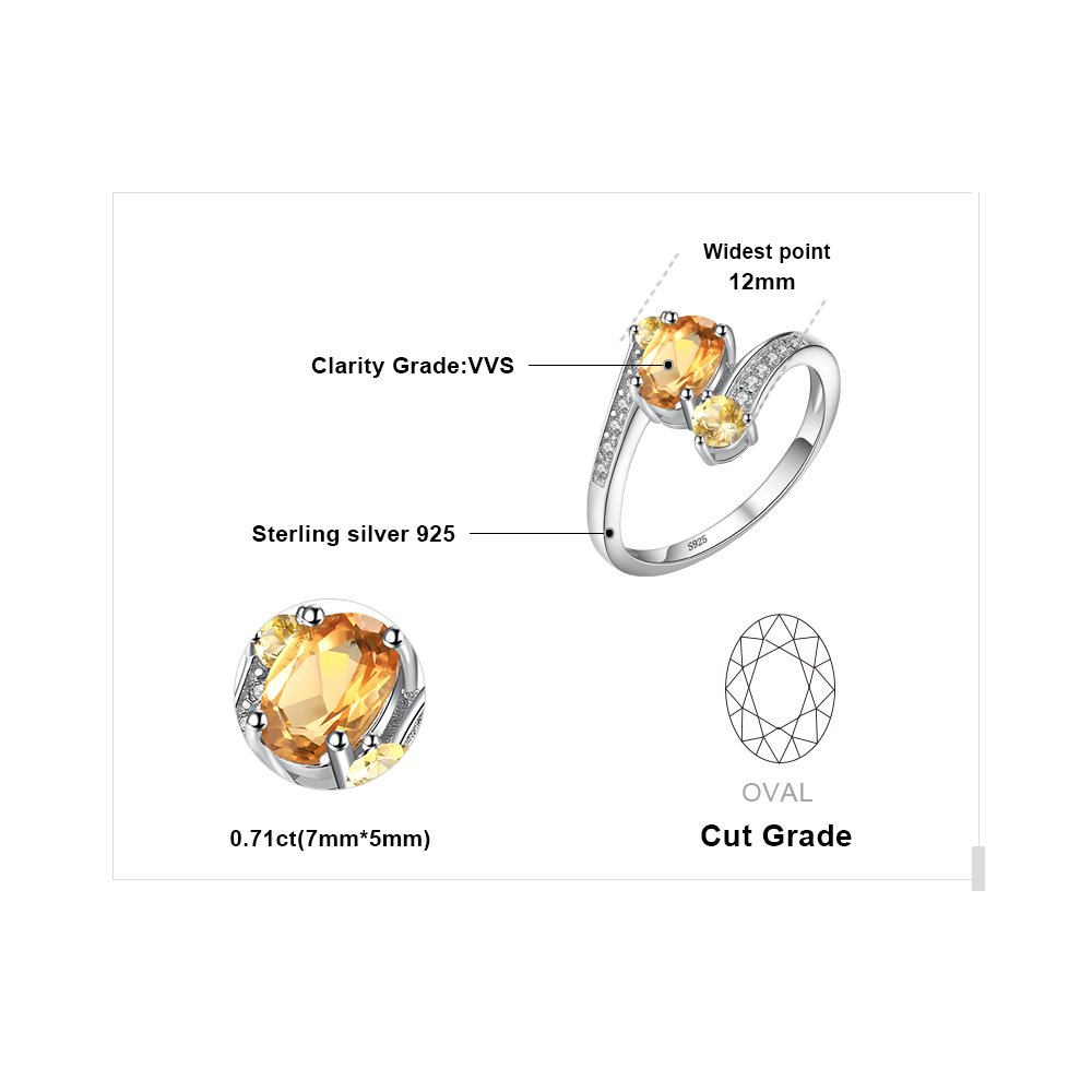 JewelryPalace Natural Amethyst Citrine Garnet Peridot Topaz 3 Stones Anniversary Ring 925 Sterling Silver