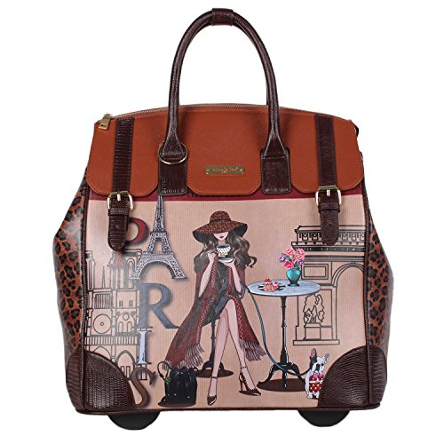 Nicole Lee Women's Exclusive Print Rolling Pink Business Laptop Compartment, Wheeled Travel Tote, Lonely in Paris, One - Wheeled 16 Tote