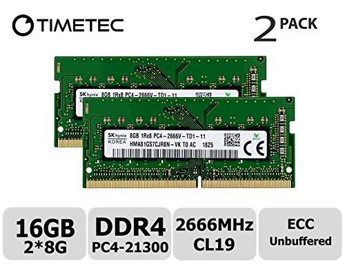 Timetec Hynix 16GB KIT (2x8GB) DDR4 2666MHz PC4-21300 Unbuffered ECC 1.2V CL19 1Rx8 Single Rank 260 Pin UDIMM undefined Memory RAM Module Upgrade (16GB KIT (2x8GB))