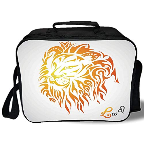 Insulated Lunch Bag,Astrology,Leo Zodiac Sign on Plain Background Sun Mystic Lion King Self Power Universe Theme Decorative,Orange,for Work/School/Picnic, Grey