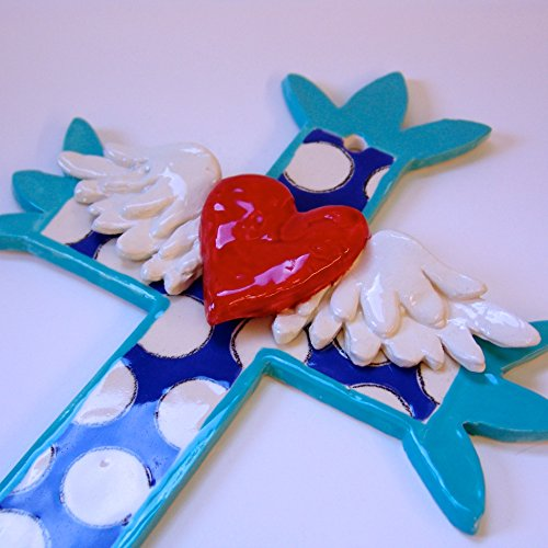 large whimsical Pottery Cross w/ polka-dots & Winged Heart