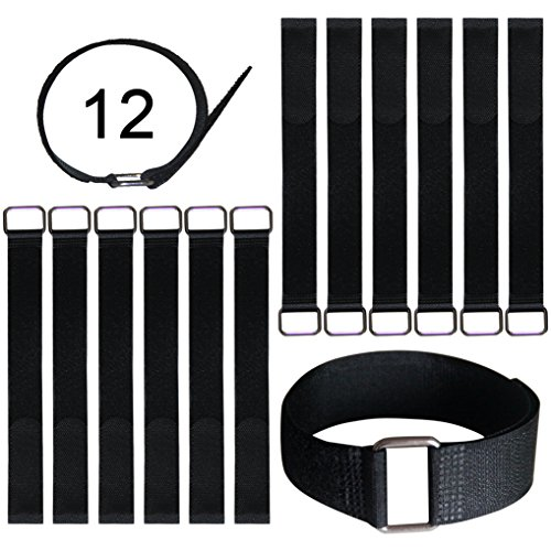Vigaer 12 inch Cinch Cable Tie Down Straps, 12 Pcs Reusable Hook and Loop Fastening Nylon Cable Tie Wraps with Metal Buckle