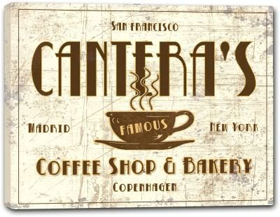 CANTERA'S Coffee Shop & Bakery Gallery Wrapped Canvas Sign Home Wall Decor Gift 24