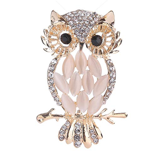 LALANG Stylish Owl Brooch Ladies Brooches Pins for Women with Opal Crystal