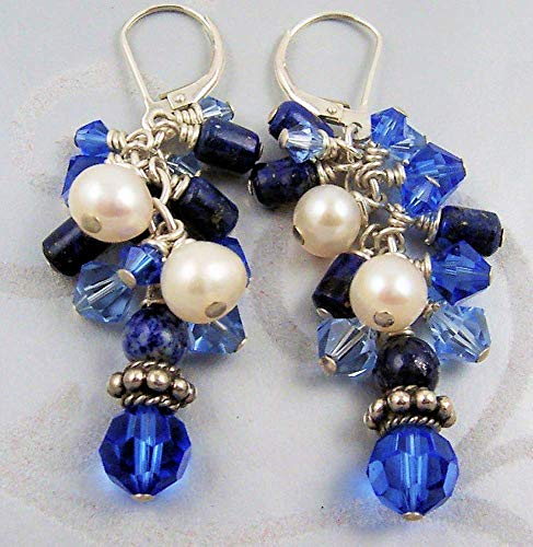 (Blue White Earrings Lapis Lazuli Freshwater Cultured Pearl Swarovski Crystal Sterling Silver)