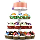 Cupcake Stand - 4 Tiered Round Clear Acrylic Plastic Cupcake Stands Tower Display Tree for Wedding Birthday Treat Parties - DYCacrlic