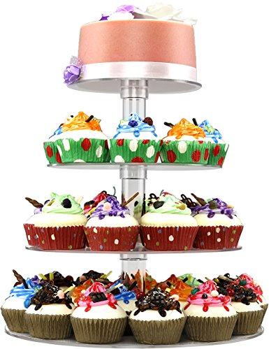 DYCacrlic Acrylic 4-Tier Round Cupcake Stand Display, Dessert Holders Cupcake Tree,Clear Tiered Cake Stand Wedding Cupcake Tower (4 Tier Round Tube) ()