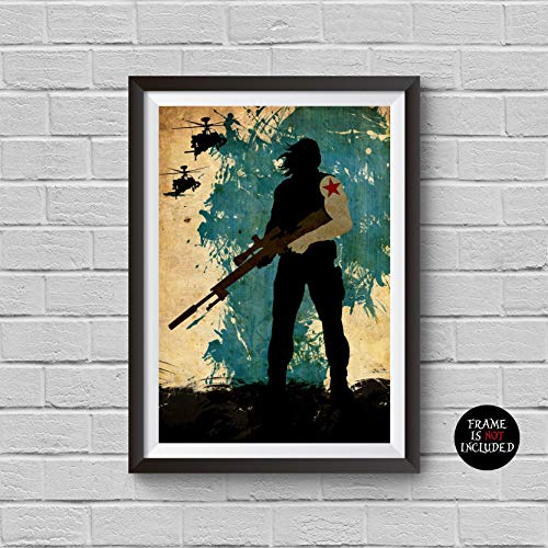 - The Avengers Bucky Barnes Minimalist Watercolor Vintage Poster Avengers Collectibles Print Sebastian Stan Winter Soldier Artwork Home Decor Wall Hanging Cool Gift