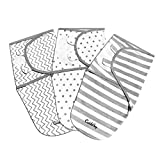 CuddleBug Adjustable Baby Swaddle Blanket & Wrap (Spots & Stripes) Pack of 3 (Small/Medium 0-3 Months Old)