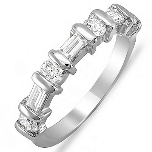 1.00 Carat (ctw) 14k White Gold Round & Baguette Diamond Ladies Anniversary Wedding Ring Matching Band 1 CT (Size 8)