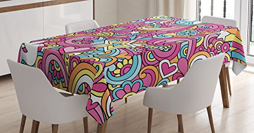 Ambesonne Groovy Decorations Tablecloth, Psychedelic Complex Funky Decorative