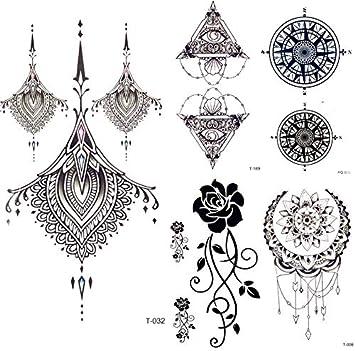 yyyDL tatuajes temporales Falso negro Jewerly Tattoo Pegatinas ...