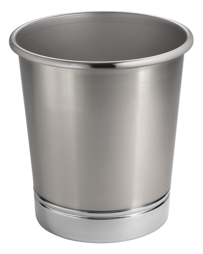 MetroDecor Mdesign Steel Wastebasket Trash Can For Bathroom/Office/Kitchen,  Brushed Nickel/