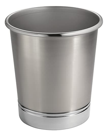Gentil MDesign MetroDecor Steel Wastebasket Trash Can For Bathroom/Office/Kitchen, Brushed  Nickel/