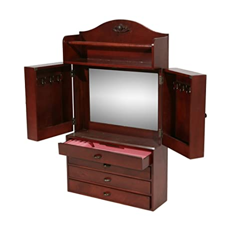 Amazoncom Southern Enterprises Jewelry Armoire Wall Mount with