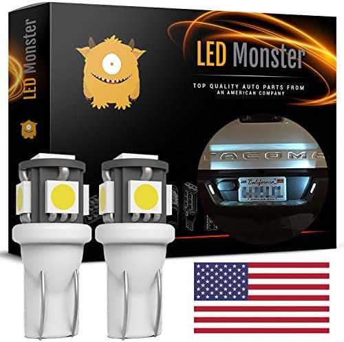 LED Monster Polarity FREE 2 x 168 194 T10 5-SMD LED Bulbs Car License Plate Lights Lamp White 12V